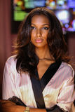 LONDON, ENGLAND - DECEMBER 02: Jasmine Tookes poses backstage at the annual Victoria's Secret fashion show Stock Photography