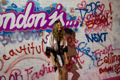 LONDON, ENGLAND - DECEMBER 02: Model Behati Prinsloo backstage at the annual Victoria's Secret fashion show Stock Photos