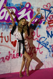LONDON, ENGLAND - DECEMBER 02: Model Behati Prinsloo poses backstage at the annual Victoria's Secret fashion show Stock Images