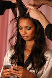 LONDON, ENGLAND - DECEMBER 02: Model Lais Ribeiro is seen backstage Royalty Free Stock Photography
