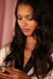 LONDON, ENGLAND - DECEMBER 02: Model Lais Ribeiro is seen backstage Royalty Free Stock Image