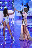 LONDON, ENGLAND - DECEMBER 02: Model Lily Aldridge (L) and singer Taylor Swift are seen on the runway Stock Photo