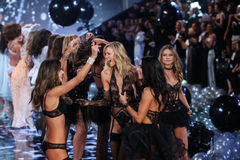 LONDON, ENGLAND - DECEMBER 02: Models (L-R) Alessandra Ambrosio, Karlie Kloss, Adriana Lima, Behati Pinsloo Stock Images