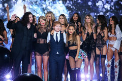 LONDON, ENGLAND - DECEMBER 02: Models pose with performers Hozier, Taylor Swift, Ed Sheeran and Ariana Grande during the 2014 VS Stock Images