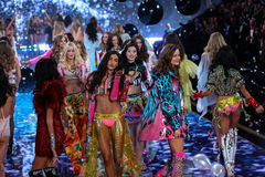 LONDON, ENGLAND - DECEMBER 02: Models during 2014 VS Fashion Show finale Royalty Free Stock Photo