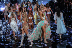 LONDON, ENGLAND - DECEMBER 02: Models during 2014 VS Fashion Show finale Stock Images