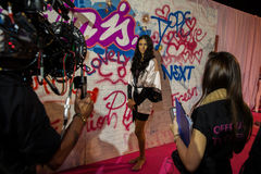 LONDON, ENGLAND - DECEMBER 02: Official TV crew shooting Adriana Lima backstage at the annual Victoria's Secret fashion show Royalty Free Stock Photography