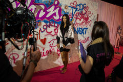 LONDON, ENGLAND - DECEMBER 02: Official TV crew shooting Adriana Lima backstage at the annual Victoria's Secret fashion show Royalty Free Stock Images