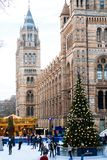 People in the Christmas skating rink by the Natural History Museum. The famous museum is one of the various city places with holid. LONDON, ENGLAND - December royalty free stock photography