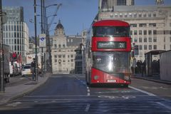 Red double-decker bus in the streets of London. LONDON, ENGLAND - December 18 , 2017 red double-decker bus in the streets of London Stock Photos