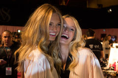LONDON, ENGLAND - DECEMBER 02: Romee Strijd and Maud Welze backstage at the annual Victoria's Secret fashion show Royalty Free Stock Photos