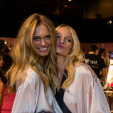 LONDON, ENGLAND - DECEMBER 02: Romee Strijd and Maud Welze backstage at the annual Victoria's Secret fashion show Royalty Free Stock Image