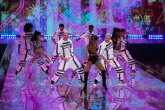LONDON, ENGLAND - DECEMBER 02: Singer Ariana Grande performs at the annual Victoria's Secret fashion show Stock Photos