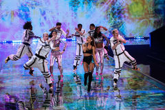 LONDON, ENGLAND - DECEMBER 02: Singer Ariana Grande performs at the annual Victoria's Secret fashion show Royalty Free Stock Photos