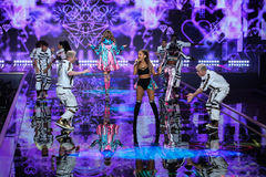 LONDON, ENGLAND - DECEMBER 02: Singer Ariana Grande performs at the annual Victoria's Secret fashion show Stock Image