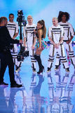 LONDON, ENGLAND - DECEMBER 02: Singer Ariana Grande performs on the stage during the 2014 Victoria's Secret Fashion Show Royalty Free Stock Image
