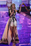 LONDON, ENGLAND - DECEMBER 02: Singer Taylor Swift performs at the runway during the 2014 Victoria's Secret Fashion Show Stock Photography