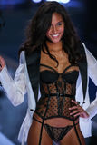 LONDON, ENGLAND - DECEMBER 02: Victoria's Secret model Joan Smalls walks the runway Royalty Free Stock Photo