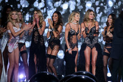 LONDON, ENGLAND - DECEMBER 02: Victoria's Secret models pose together during the show finale of the 2014 VS Royalty Free Stock Photography