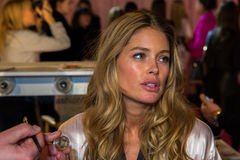 LONDON, ENGLAND - DECEMBER 02: Victoria Secret's model Doutzen Kroes is seen backstage Stock Photography