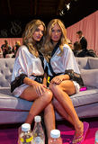 LONDON, ENGLAND - DECEMBER 02: VS models Bregje Heinen and Romee Strijd backstage at the annual Victoria's Secret fashion show Stock Image