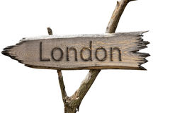 London , England , Europe wooden sign Royalty Free Stock Photo