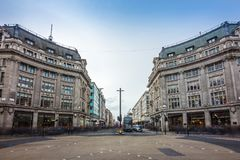 London, England - The famous Oxford Circus with Oxford Street and Regent Street. On a busy day Stock Photography