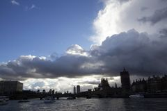 Dark skies over Westminster Bridge seen from the River Thames, London, England, February 12,. LONDON, ENGLAND - FEBRUARY 12, 2018. Dark skies over Westminster stock image