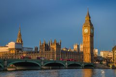 London, England - Golden hour early in the morning at the Big Ben, Houses of Parliament Stock Photography