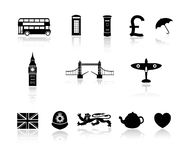 London England Icon Collection. Set of icons with Great Britain London England theme Vector Illustration
