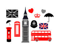 London England Icon Collection. Set of icons with Great Britain London England theme Stock Illustration