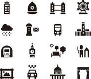 London, England icon set. Black and white set of glyph flat icons relating to London, England, UK Royalty Free Stock Photography