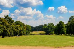 Hyde Park, one of the Royal Parks of London. LONDON, ENGLAND - JULY 23, 2016: Nature of the Hyde Park, one of the largest parks in London, and one of the Royal Stock Image