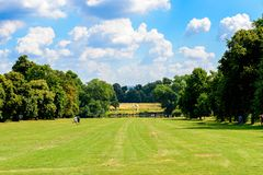 Hyde Park, one of the Royal Parks of London. LONDON, ENGLAND - JULY 23, 2016: Nature of the Hyde Park, one of the largest parks in London, and one of the Royal Royalty Free Stock Images