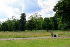Hyde Park, one of the largest parks in London. LONDON, ENGLAND - JULY 23, 2016: Nature of the Hyde Park, one of the largest parks in London, and one of the Royal Stock Photos