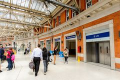 Waterloo station, a central London railway terminus stock image