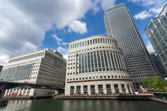 LONDON, ENGLAND - JUNE 17 2016: Business building and skyscraper in Canary Wharf, London, Great Britain Stock Photos
