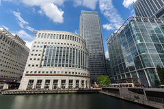LONDON, ENGLAND - JUNE 17 2016: Business building and skyscraper in Canary Wharf, London, Great Britain Royalty Free Stock Photography