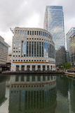 LONDON, ENGLAND - JUNE 17 2016: Business building and skyscraper in Canary Wharf, London, Great Britain Stock Photography