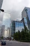 LONDON, ENGLAND - JUNE 17 2016: Business building and skyscraper in Canary Wharf, London, Great Britain Royalty Free Stock Photos