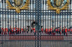 The changing of the guards at Buckingham Palace, London, United Kingdom royalty free stock image