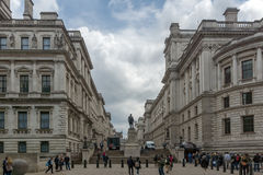 LONDON, ENGLAND - JUNE 17 2016: Churchill War Rooms and Robert Clive Memorial seen from King Charles street in London, Gr. LONDON, ENGLAND - JUNE 17 2016 Royalty Free Stock Photography