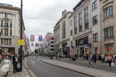 LONDON, ENGLAND - JUNE 16 2016: Clouds over Oxford Street,  England, Great Britain. LONDON, ENGLAND - JUNE 16 2016: Clouds over Oxford Street, City of London Royalty Free Stock Images