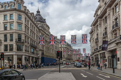 LONDON, ENGLAND - JUNE 16 2016: Clouds over Oxford Street,  London, England, Great Britain. LONDON, ENGLAND - JUNE 16 2016: Clouds over Oxford Street, City of Stock Photos
