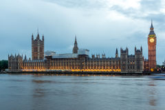 LONDON, ENGLAND - JUNE 16 2016: Houses of Parliament with Big Ben from Westminster bridge, London, England Stock Image