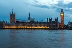 LONDON, ENGLAND - JUNE 16 2016: Houses of Parliament with Big Ben from Westminster bridge, London, England Royalty Free Stock Photo