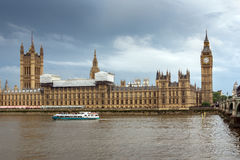 LONDON, ENGLAND - JUNE 16 2016: Houses of Parliament with Big Ben from Westminster bridge, London, Great Britain Stock Photos