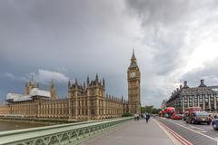 LONDON, ENGLAND - JUNE 16 2016: Houses of Parliament with Big Ben from Westminster bridge, London, Great Britain Stock Images