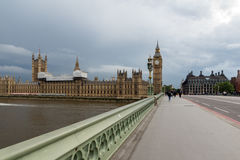 LONDON, ENGLAND - JUNE 16 2016: Houses of Parliament with Big Ben from Westminster bridge, London, Great Britain Royalty Free Stock Photo