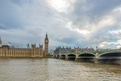 LONDON, ENGLAND - JUNE 16 2016: Houses of Parliament with Big Ben from Westminster bridge, London, Great Britain Stock Photography